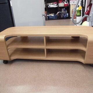 キャスター付きテレビボード 木製 幅119cm ナチュラルブラウ...