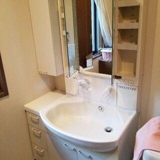 洗面化粧台中古750サイドキャビネット付き差し上げます