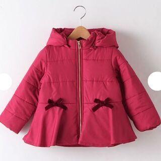 プティマイン リボン付き 裾フリル ペプラム中綿コート