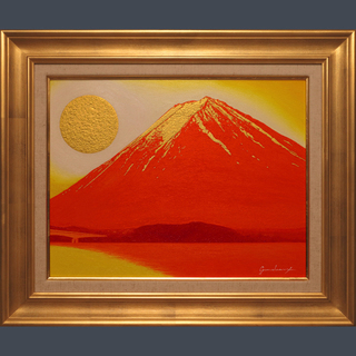 私が描いた油絵です。●『河口湖からの金の太陽の赤富士』●がんどう...