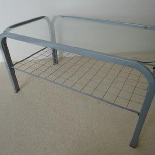 ガラステーブル 74×43×38cm ローテーブル 強化ガラス