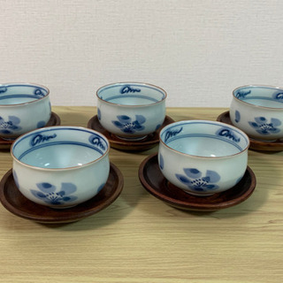 煎茶碗5客と茶托‼️