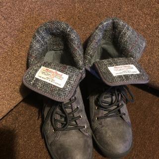 ハリスツイード ダークグレー ブーツ Mサイズ