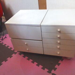 白のジュエリーボックス  キャスター付き 大容量収納