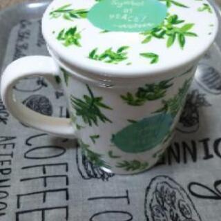 最終値下げ❗️茶漉しつきマグカップ(オリーブ)