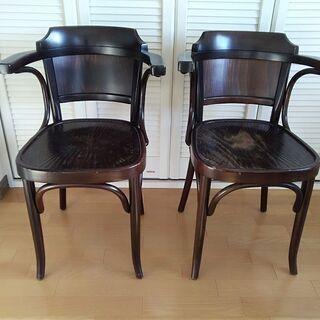 アンティーク カフェ 椅子 2脚