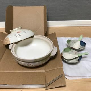 【新品未使用】2人用土鍋(とんすい+れんげ 2セット付き)