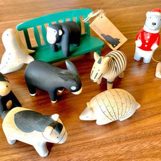 【郵送代込】木製ポレポレ 動物人形8体➕木製椅子