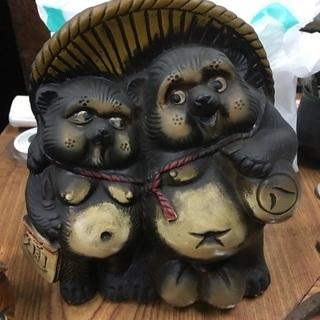 民芸品タヌキの置物 2種セット