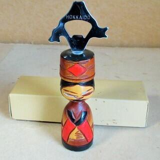 ☆木彫りの栓抜き 北海道アイヌ 木工芸◆置物としても映える