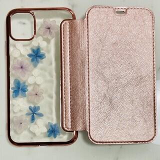 【新品】iphone11用 押し花手帳型ケース