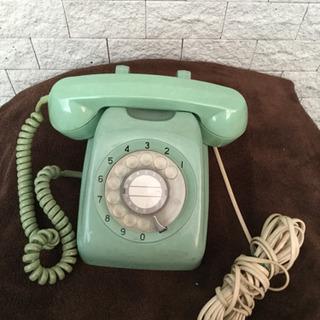 アンティークレトロアナログ電話機☆緑ダイヤル式