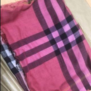 未使用フルセット BURBERRY スカーフ バーバリー コーラルピンク ストール マフラー - 服/ファッション