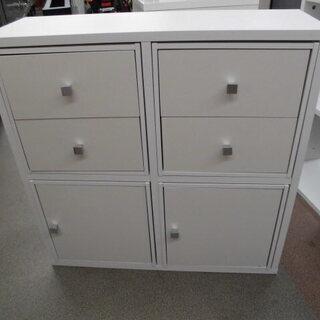 収納ボックス4個付き オープンシェルフ 収納棚 木製 白 幅84...