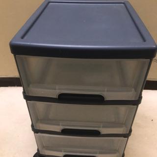 【148】プラスチック三段収納ケース