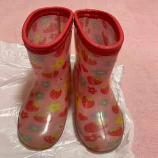 長靴 15センチ いちご花柄