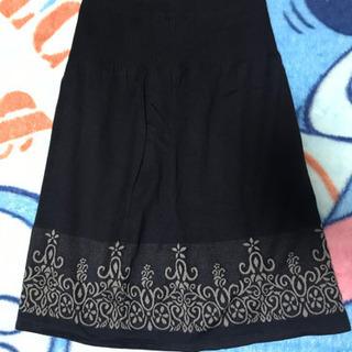 スカート ひざ丈 フェリシモ ネイビー 花 Mサイズ リブニット