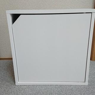 未使用品 木製収納ボックス 薄型・扉付き 白 連結可能