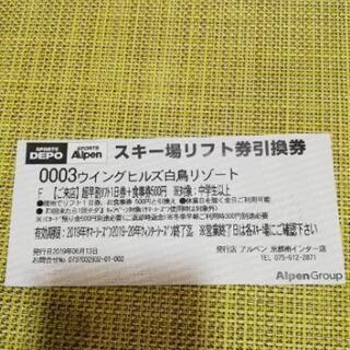 ウイングヒルズ白鳥リゾート 1日券+食事券500円  ウィ…