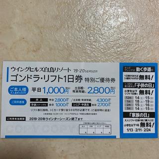 ウイングヒルズ白鳥リゾート特別ご優待券 ゴンドラ - 京都市