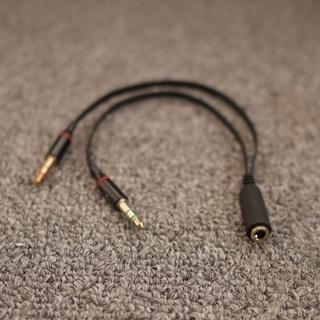 マイク付きイヤフォン端子→PC用ヘッドフォン端子、マイク端子に分岐