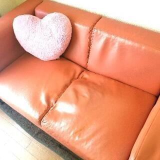 2人掛けソファー★オレンジに近いレッド
