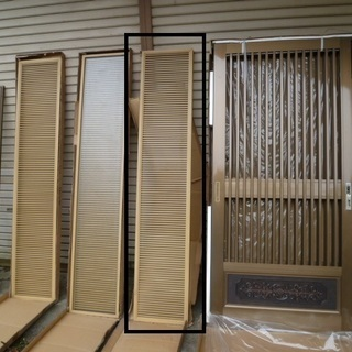 新品 桧 万本格子 高級 玄関引戸 ランマ HMX-19 玄関引...