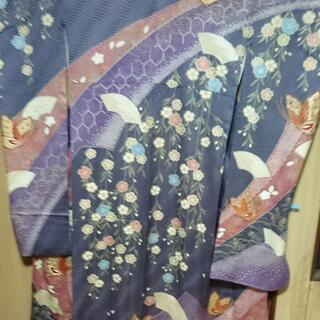 古典振袖 薄地味紫地末広と蝶 単品 見切り処分
