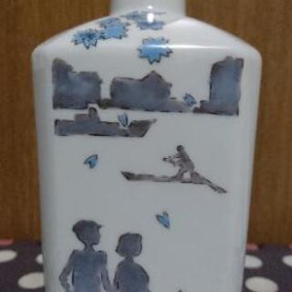九谷焼 武腰潤 作 色絵 春風景図 酒瓶 / 酒器 徳利 角瓶