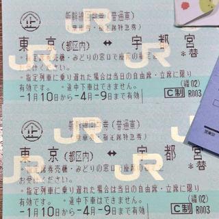 新幹線 指定席回数券 2枚(宇都宮ー東京)
