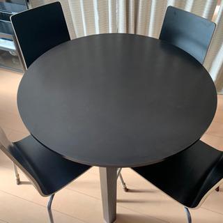 IKEA リビングダイニング 丸テーブル 椅子4脚セット 合計2セットの画像