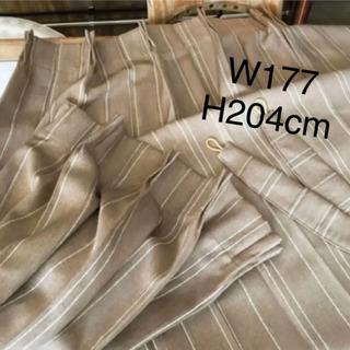 【新品・未使用】カーテン   ブラウン  ストライプ W177×...