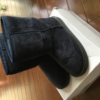 ムートン ブーツ 紺色 美品 M 23 23.5 👢