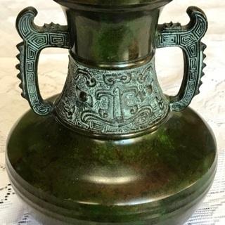 和雲作 銅製 双耳花瓶