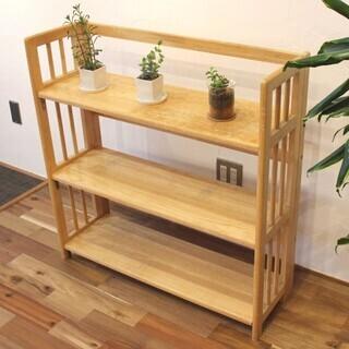 🌟傷あり🌟✨3段の木製シェルフ、ブックスタンド🌟✨折り畳み式🌟け...