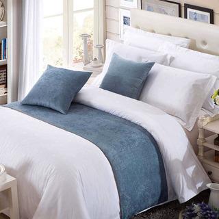 新品 ベッドランナー ベッドスロー 高級感 水色 民泊