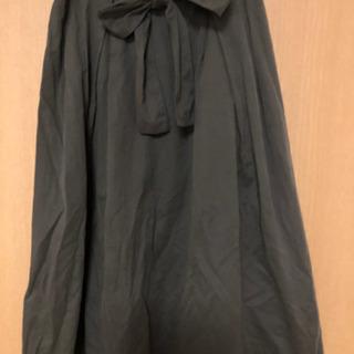 GU フロントリボン Aラインスカート カーキ