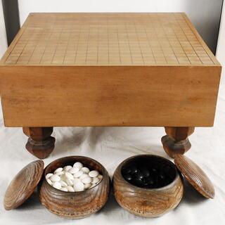 1840 囲碁セット 脚付碁盤 囲碁台 碁石  那智黒 蛤碁石 ...
