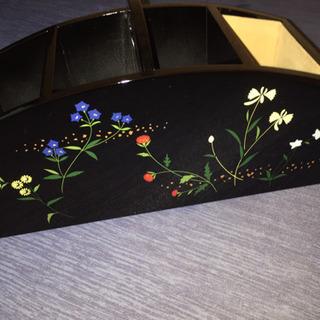 会津漆器 リモコンラック 山野草柄 未使用品
