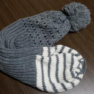 ■帽子にもなるニットマフラー2WAY■グレー/ニット帽