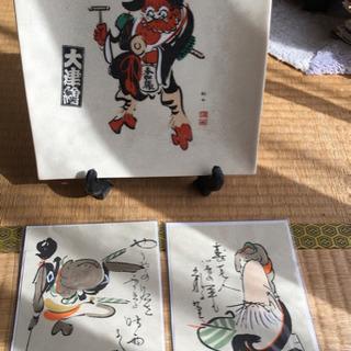 大津絵飾り皿・絵葉書2枚セット