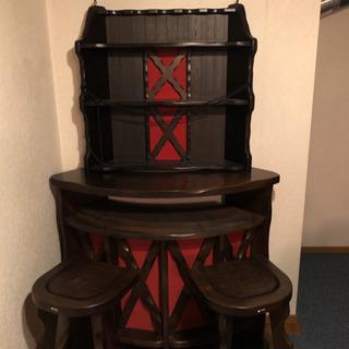 カリモク バーカウンター 椅子付き セット