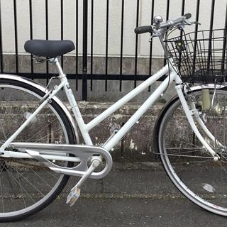 <美品車>27インチ・自転車・ホワイト・サドルとフロントのブレー...