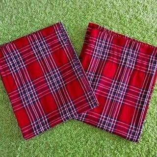 ■至急です!■ハンドメイド■赤いタータンチェック柄のカーテン2枚組■北欧・カントリー■の画像