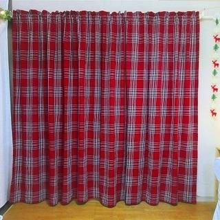 ■至急です!■ハンドメイド■赤いタータンチェック柄のカーテン2枚組■北欧・カントリー■ - 八尾市