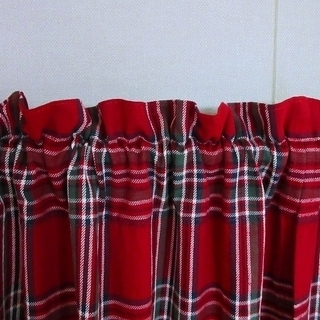 ■至急です!■ハンドメイド■赤いタータンチェック柄のカーテン2枚組■北欧・カントリー■ - 家具