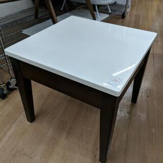 サイドテーブル 天板鏡面仕上げ 50×50 ホワイト/ブラウン