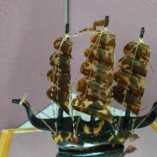 本べっ甲 帆船の置物 ガラスケース ウミガメ ヨット 骨董