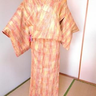 中古美品:正絹 単衣着物 オレンジ系、変わり織り