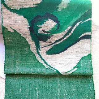 中古:正絹 八寸名古屋帯 ビビッドな緑x白 デザイン帯